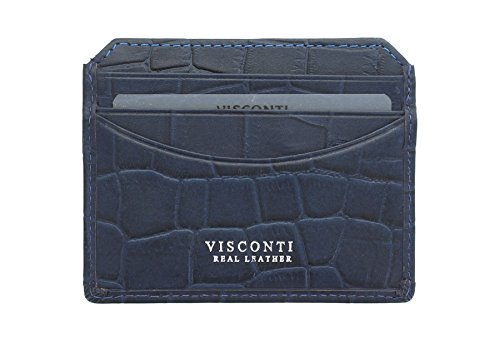 Credit Slim Holder Blue Blue Card Leather SCALE Croco CR90 Visconti Collection Wqn1BXaZ