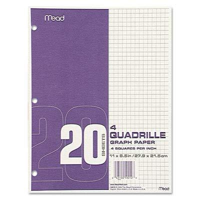Quadrille Graph Paper, Quadrille (4 sq/in), 8 1/2 x 11, White, 12 Pads/Pack - MEA19010
