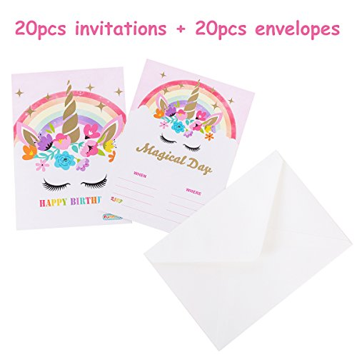 Funnlot Unicorn Invitations for Rainbow Unicorn Party Birthday Party Supply Decoration Double Sided Gold Glitter 5''x 7'' with 20 Invitations and 20 A7 Envelopes by Funnlot