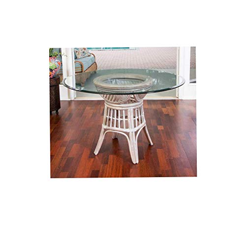 Wood & Style Furniture Bermuda Dining Table Base in Rustic Driftwood Finish with Round Tempered Bevel Edge Glass, 48