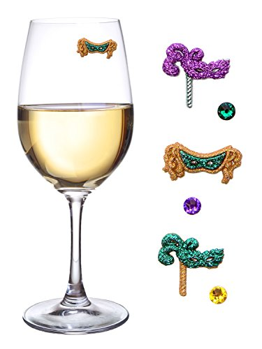 Mardi Gras Mask Wine Glass Charms Tags or Cocktail Markers Magnetic Set of 6 Unique Identifiers or Novelty Party Favors