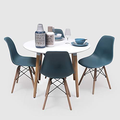 Homely - Conjunto de Comedor NORDIK-MAX Mesa Redonda de 100 cm lacada Blanca y 4 sillas (Turquesa)