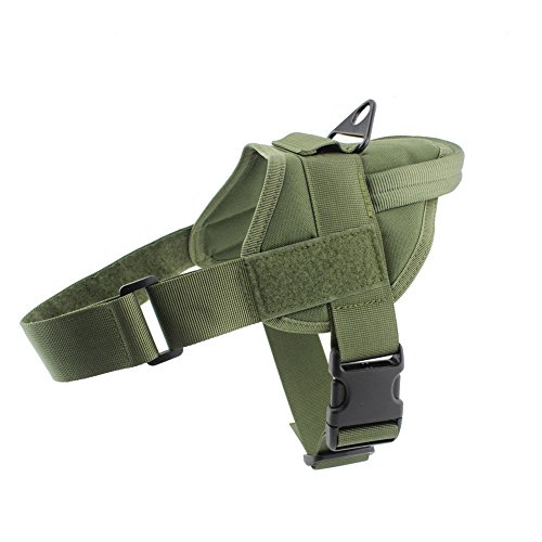 Qw Tactical K9 Dog Vest Harness Service Dog Vest Nylon Patrol Training Harness With Handle For Dog Outdoor Sports  L  Green