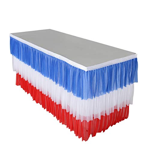 6FT Table Skirt Patriotic Table Skirt Tulle Nation Flag Tutu Table Skirting for Rectangle or Round Table for July 4th Independence Day and Captain America Theme Party Decoration(L72inch×H30inch)