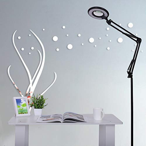 - Clearance Sale!DEESEE(TM)4-in-1 LED Magnifying Glass Floor Lamp with Clamp, White/Warm White Lighted - Full Spectrum Magnifier Lens - Adjustable Stand & Swivel Arm Light