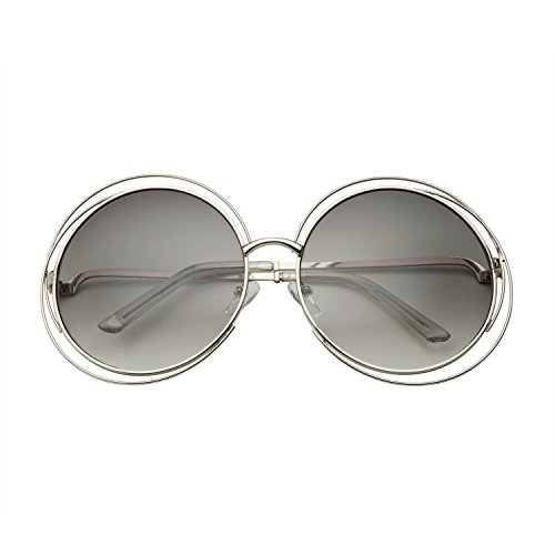 grinderPUNCH Womens Halo XXL Round Oversized Wire Sunglasses in Metal