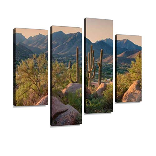 Canvas Wall Art Painting Pictures Pinnacle Peak Park as Sun Rises Over Cactus and Hiking Trails Modern Artwork Framed Posters for Living Room Ready to Hang Home Decor 4PANEL