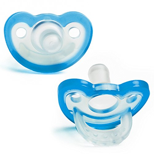 RaZbaby JollyPop Baby Pacifier Plus, 3m+, Blue, Double Pack ()