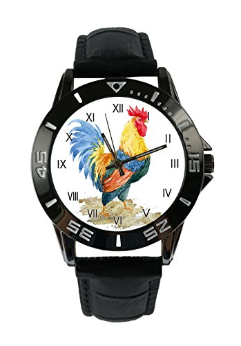 ecowcow Chickens and a rooster rustic retro Custom Simulated Quartz Movement Watches Luxury Retro Leather Fashion Neutral ()