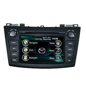 Reproductor de autoradio DVD en el tablero para MAZDA 3 con navegación GPS/bluetooth/radio/pantalla touch/cámara de reversa/soporte de ipod/iphone