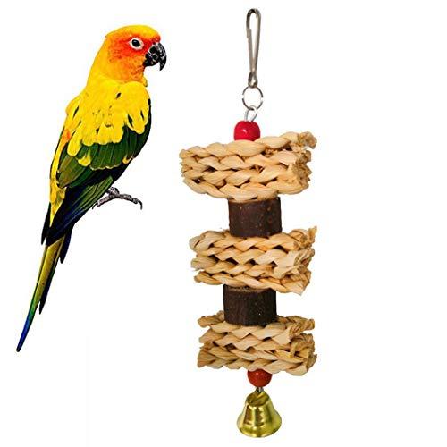 TeDUnaxxme Chew Pet Toy Bird Wooden Block Corn Leaf Parrot Climbing Bite Cage Hanging Decor - Wood