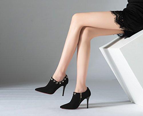 véritable Chaussures LBDX l'europe Unis Pointu 39 Rose Couleur Simples Taille Mode Talons et Hauts États Noir en Les Cuir xvYrn4vqH