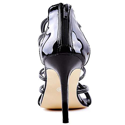 Mujeres Verano Tamaño Kuki Pez Zapatos Las Boca Black Cross De Hollow Gran Sandalias Alto Strap Tacón x0rw0t