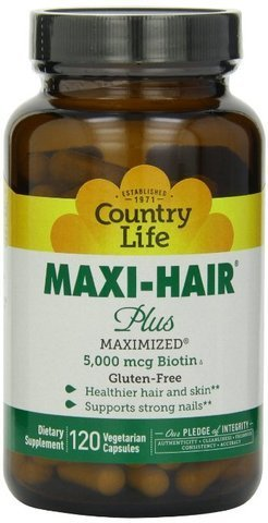 Country Life Maxi Hair Plus 5,000 mcg Biotin 120 VegiCaps ( MegaQuantity Pack of 3) by Country Life