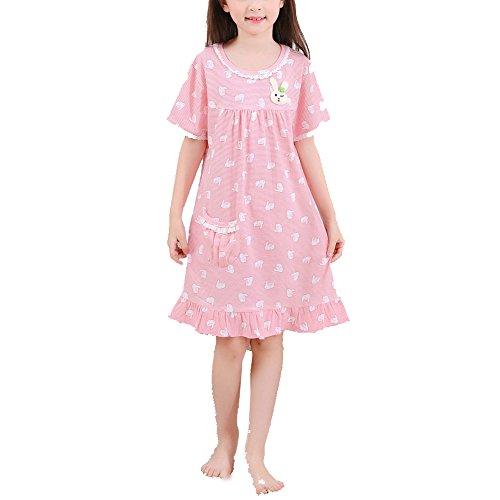 ADAHOP Girls' Princess Nightgowns Rubbit Print Sleep (Robe Sleepshirt)