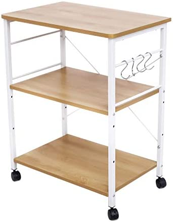 HOFOME Kitchen Baker s Rack, 3 Tier Kitchen Island Cart Utility Microwave Oven Cart, Metal Frame Storage Stand Shelf Light Oak