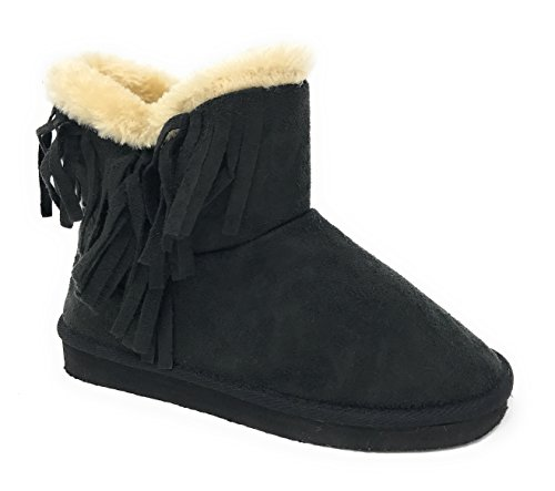 Pink Lables Girl's Warm Winter Cozy Shearling Fringed Boot in Black Size: 1 - Girls Fringed Boots