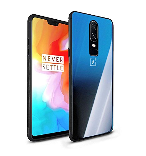 OnePlus 6 Case, Mingwei Gradient Tempered Glass Back Case [Scratch Resistant] Soft TPU [Shock Absorption] Colorful Mirror Shockproof Protective Thin Cover for OnePlus 6 (OnePlus 6, Blue) -