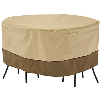 Classic Accessories Veranda Round Patio Bistro Table and Chair Set Cover - Durable and Water Resistant Patio Furniture Cover (71962)