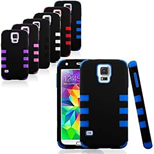 YULIN Drop Protection Slim Fit Dual Layer Hard and Soft Hybrid Case for Samsung Galaxy S5 I9600 (Assorted Color) , Pink