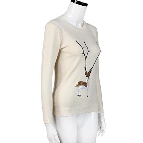 de l No les femme femmes de No paillettes pull perles Pull Hiver cerfs de Moonuy tricot de perle l de 7qEz1Y