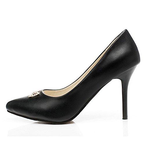 Amoonyfashion Womens Pu Hoge Hakken Spitse Gesloten Teen Stevige Pull-on Pumps-schoenen Zwart