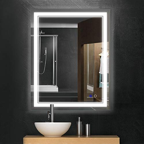 Keonjinn 36x 28 Bathroom Mirror Horizontal/Vertical Anti-Fog Wall Mounted Makeup Mirror with LED Light Over Vanity