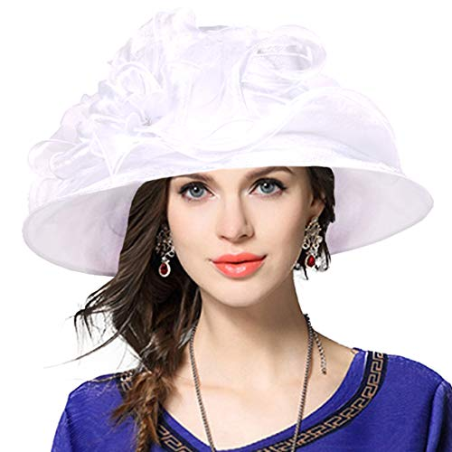 (JESSE · RENA Women's Church Derby Dress Fascinator Bridal Cap British Tea Party Wedding Hat (Plain-White))