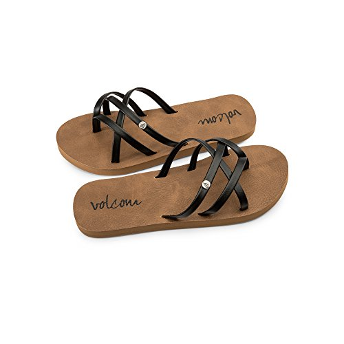 Volcom Girls' New School Youth Sandal Flip Flop Black