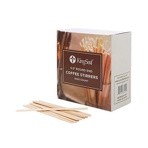 KingSeal Natural Birch Wood Coffee Beverage Stirrers - 5.5 Inches, Round End, 2 Packs of 1000 each