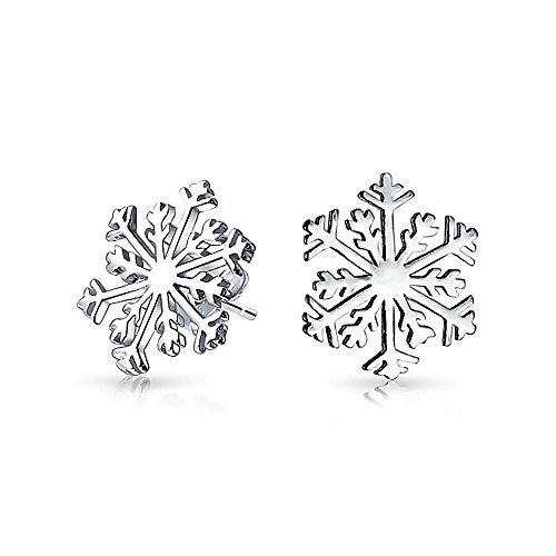Christmas Winter Holiday Snowflake Stud Earrings For Women For Teen 925 Sterling Silver