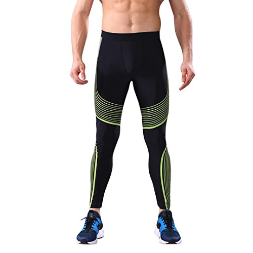 Franterd Men's Thermal Underwear Leggings Multifunction Workout Leggings Fitness Sports Gym Running Yoga Pants Bottoms (Yellow