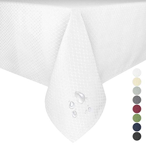 Eforgift Tablecloths Oil Proof Water Repellent Waffle Fabric Rectangle Table Cover Wrinkle Free Heavy Weighted for Parties Picnics, Pearl White, Large Size 60 x 120 inches ()
