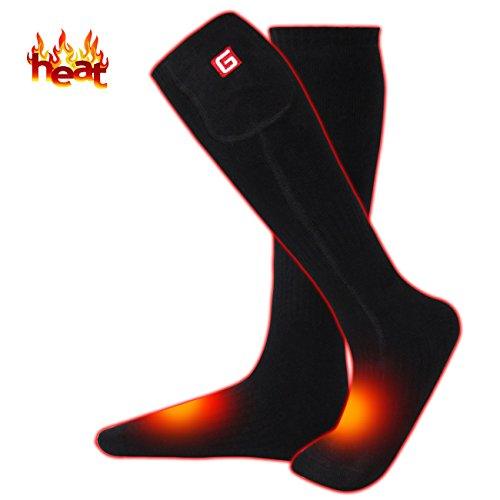 MMlove Men's Heated Hiking Socks for Cold Weather Rechargeable Batteries Hiking Socks Thermal Insulated Foot Warmers for Chronically Cold Feet,Perfect for Hunting Hiking Shredding, Riding Electric