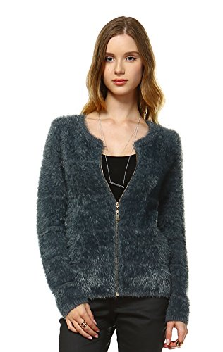 Zoozie LA Women's Fuzzy Zip Cardigan Sweater Gray