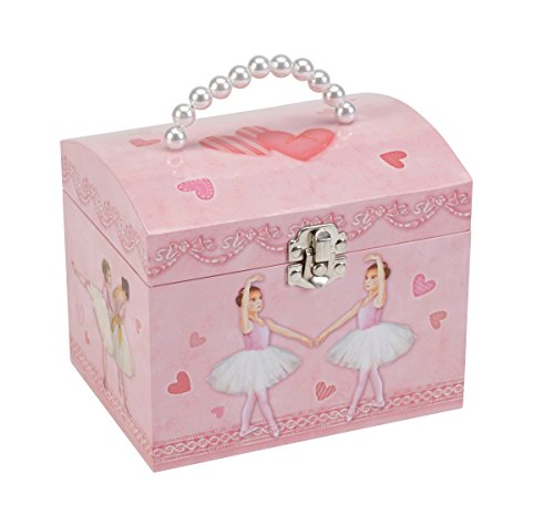 JewelKeeper Pink Heart Ballerina Girl's Music Box with Pearl