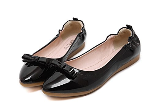 Pointed Ballerina Flat Black Bumud Toe Shoes Womens Solids Ballet Pq5g7n