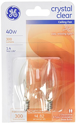 GE Lighting 81561 40-Watt 280-Lumen Decorative B13 Incandescent Light Bulb, Crystal Clear, 2-Pack (Type B Bulb Color compare prices)