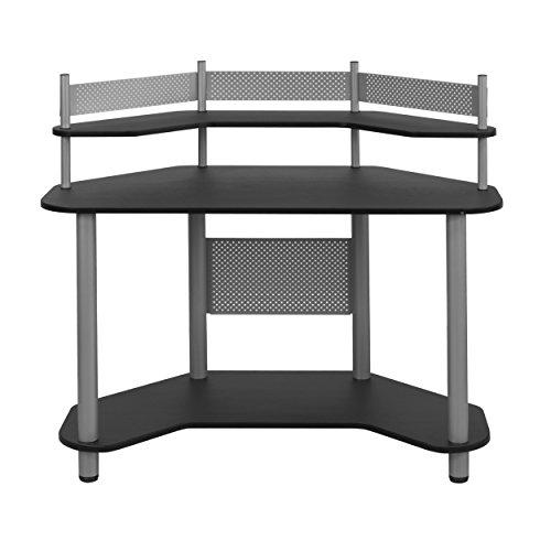 Calico Designs 55123 Study Corner Desk, Silver with Black Corner Computer Station