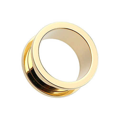 Covet Jewelry Gold Plated Screw-Fit Ear Gauge Tunnel Plug (2 GA (6.5mm))