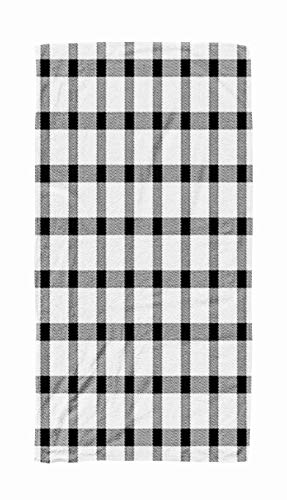 Big Beach Towel,Kids,Baby,Women and Men Beach Towels Halloween Tartan Plaid Scottish Pattern in Black White Cage Traditional 30x60 Inch Large Pool Towels for Body Bath,Swimming,Travel,Camping,Sport ()