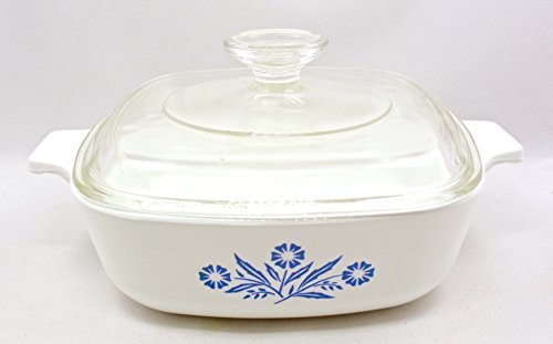 Vintage Kitchen Glass Casserole (Vintage Corning Ware Casserole P-1-B,blue Flowers,glass Cover,1 Qt.usa)