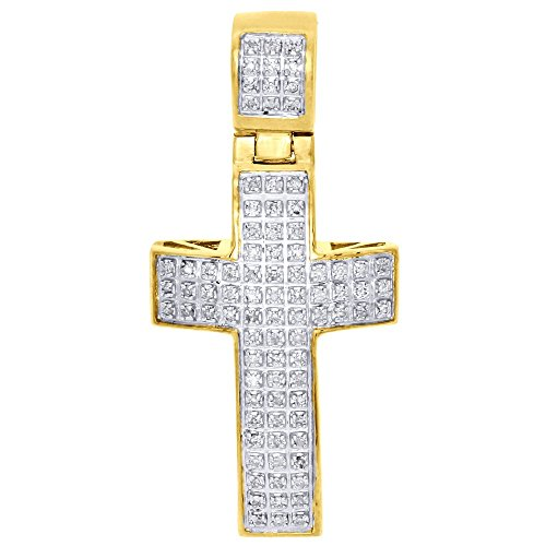 Jewelry For Less ATL 10K Yellow Gold Round Cut Pave Set Diamond Domed Mini Cross Men's Pendant 1.50
