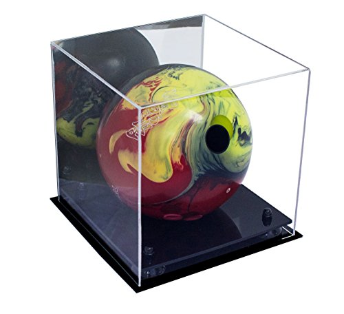 - Deluxe Acrylic Bowling Ball Display Case with Black Risers and Mirror (A028-BR)