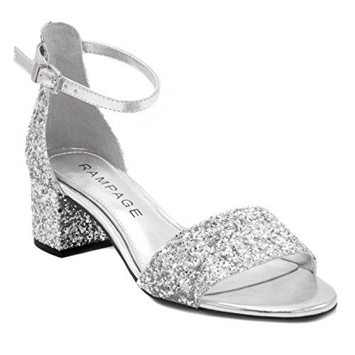 Rampage Women's Glyterzz Open Toe Low Block Dress Heel with Ankle Strap Heeled Sandal, Silver Glitter, 10 Medium ()