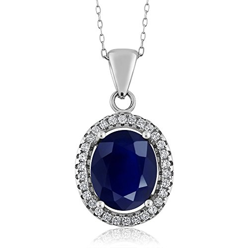 - 925 Sterling Silver Blue Sapphire Women's Gemstone Pendant Necklace, 5.40 Ctw Oval with 18 Inch Silver Chain