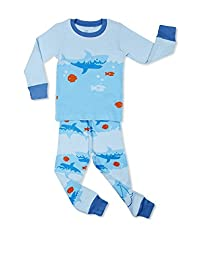 "Elowel Little Boys ""Shark Fish"" 2 Piece Pajama Set 100% Cotton (6M-8 Years)"