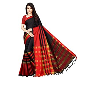 Shree Ram Krishna Cotton Silk Saree With Blouse Piece-Free Size 41aietrntkL