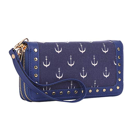 - K A Anchor Credit Card Holder Zipper Purse Wallet Key Handbags with Removable Wristlet