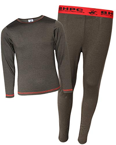 Beverly Hills Polo Club Boys 2-Piece Performance Thermal Underwear Set, Marled Black, Size Large (12/14)